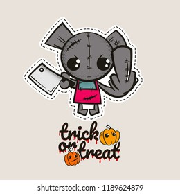 Halloween stitch bear zombie voodoo doll. Evil sewing monster. Cute colored vector halftone sticker sketch. Cartoon angry killer character. Trick or treat pumpkins.