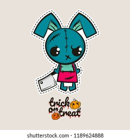 Halloween stitch bunny, rabbit zombie voodoo doll. Evil sewing monster. Cute colored vector halftone sticker sketch. Cartoon angry killer character. Trick or treat pumpkins.