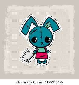 Halloween stitch bunny, rabbit zombie voodoo doll. Evil sewing monster. Cute colored vector halftone sticker sketch. Cartoon angry killer character.