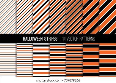 halloween stripes vector patterns orange black and white diagonal and horizontal lines modern