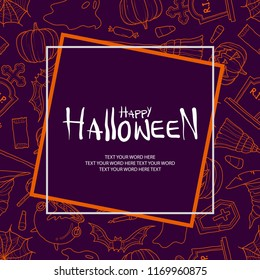 Halloween stuff in orange outline random on purple background with frame and space for text. Background or poster design for halloween event in vector illustration.