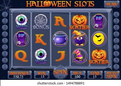 Halloween style Casino slot machine game. Complete Interface Slot Machine, buttons and icons on separate layers. Background for slots game.