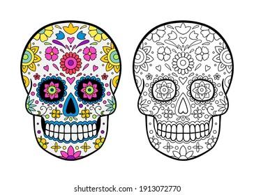 Halloween sugar skulls, coloring page