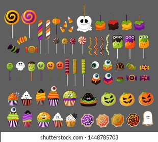 Halloween sweets collection. Big candy  set. Popular Halloween isolated desserts, sweets for children. Jelly, candy corn, cupcakes, gingerbread, candy cane, lollipop, apples.Hand drawn Halloween food.