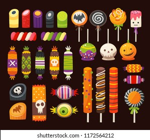 Halloween sweets for kids in traditional October holiday colors. Colorful classic vector candies decorated with halloween elements and ornaments. Isolated icons