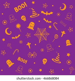 Halloween symbol design decoration into seamless pattern for wallpaper with orange and violet,purple,magenta background colors.