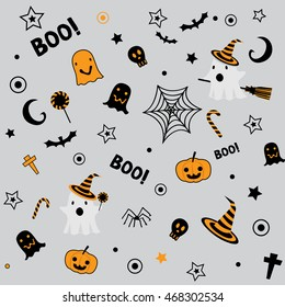 Halloween symbol design element decoration into seamless pattern for wallpaper on orange,black and gray background colors.