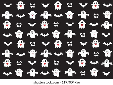 Halloween symbols for background,cute ghost and bat vector