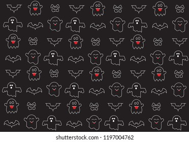 Halloween symbols for background,ghost and bat vector
