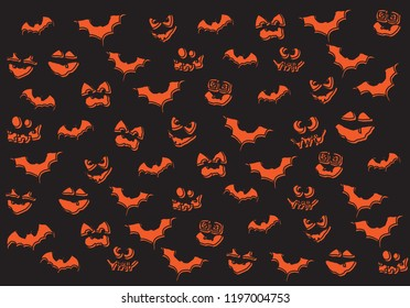 Halloween symbols for background,orange face of pumpkin and bat vector