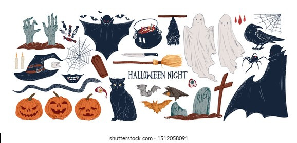 Halloween symbols hand drawn vector illustrations set. Jack lanterns, black cat, spider web and bats. Spooky autumn holiday accessories. Witch hat, vampire, ghost and zombie on white background