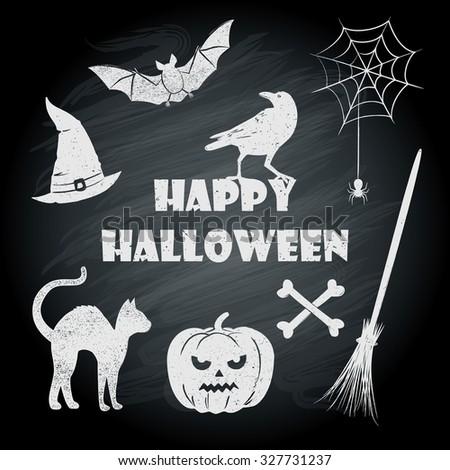 Halloween Symbols On Chalkboard Stock Vector Royalty Free