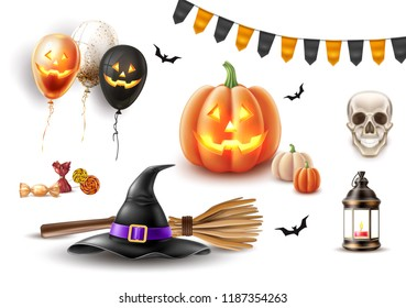 Halloween symbols realistic set. Jack o lanterns scary pumpkin face, witch broom and pointed hat, vintage lamp, candies, black bat, smiling skull, balloons with spooky faces, vector buntings flags
