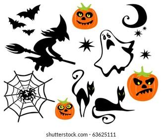 Halloween symbols set isolated on a white background.
