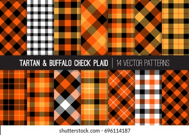 Halloween Tartan and Buffalo Check Plaid Vector Patterns. Orange, Black and White Flannel Shirt Fabric Textures. Fall Fashion. Thanksgiving Day Background. Pattern Tile Swatches Included.