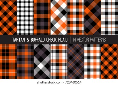Halloween Tartan and Buffalo Check Plaid Vector Patterns. Orange, Black, Gray and White Flannel Shirt Fabric Textures. Fall Fashion. Thanksgiving Day Background. Pattern Tile Swatches Included.