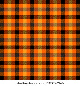 Halloween Tartan plaid. Scottish pattern in orange, black, yellow and gray cage. Scottish cage. Traditional Scottish checkered background. Seamless fabric texture. Vector illustration
