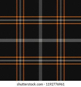 Halloween Tartan plaid. Scottish pattern in orange, black and gray cage. Scottish cage. Traditional Scottish checkered background. Seamless fabric texture. Vector illustration