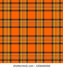 Halloween Tartan plaid. Scottish pattern in orange, black and yellow cage. Scottish cage. Traditional Scottish checkered background. Seamless fabric texture. Vector illustration