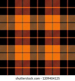 Halloween Tartan plaid. Scottish pattern in orange, black, grey and yellow cage. Scottish cage. Traditional Scottish checkered background. Seamless fabric texture. Vector illustration