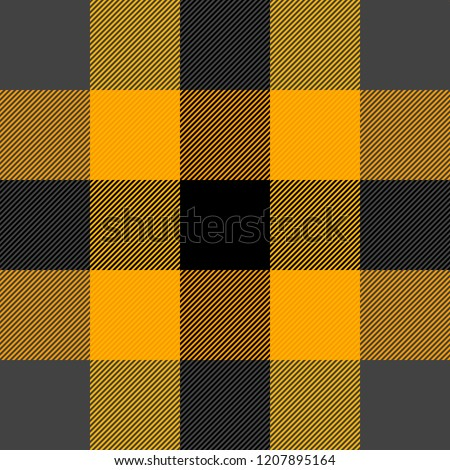 426fa35852 Halloween Tartan plaid. Scottish pattern in orange, black, grey and yellow  cage. Scottish cage. Traditional Scottish checkered background.