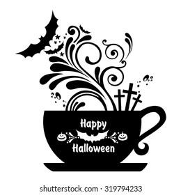 Halloween tea. Vector illustration