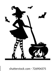 Halloween template for laser cutting. A cute young witch in striped socks and shoes brews a potion in pot. Silhouette pattern. Cutout paperwork. Laser cut art. Vector illustration.