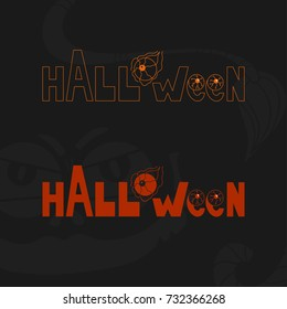Halloween text icon in special style. Illustration in two version - path and colorful on black background. Text with devil eyes