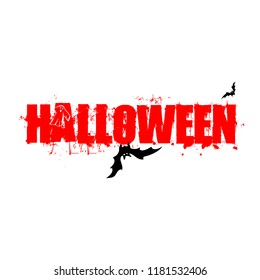 Halloween text lettering design with scary blood red color and bat illustration.