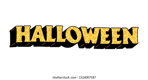 HALLOWEEN TEXT WITH PUMPKIN PATTERN COLOR WHITE BACKGROUND