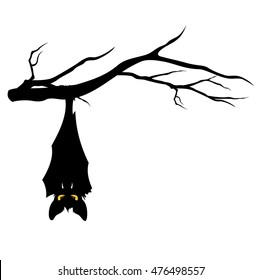 halloween theme evil bat hanging on a tree branch - funny monster vector design