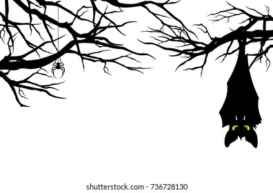 halloween theme evil bat hanging among tree branches - monster vector design