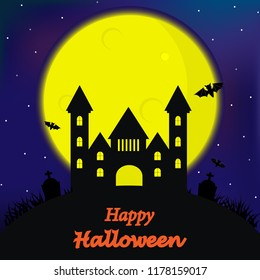 Halloween Theme is Landscape with a Spooky Haunted Halloween Castle and a Full Moon.