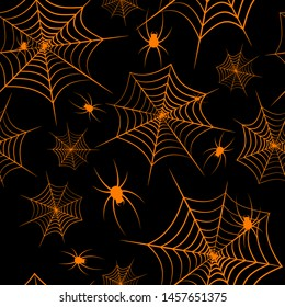 Halloween theme Spiderweb and spiders on a black background Seamless pattern Creative design background of web sites wallpapers covers wrappers for Halloween Spiderweb and spiders flat pattern Vector
