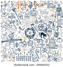 Halloween themed doodle set. Traditional and popular symbols - carved pumpkin, party costumes, witches, ghosts, monsters, vampires, skeletons, skulls, candles, bats. Isolated over white background.