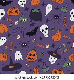 Halloween themed seamless icon pattern. Hand-drawn doodle vector illustration for wallpaper, wrapping, textile.