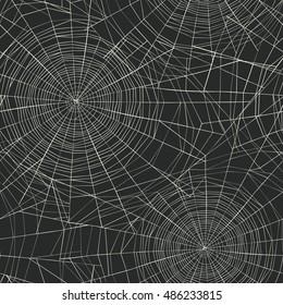 Halloween themed seamless pattern. Spider web background.