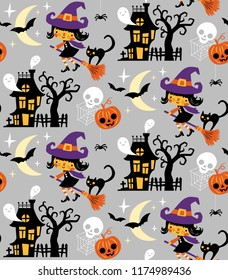 Halloween themed seamless vector pattern with cute witches, black cats, pumpkins, ghosts and haunted houses on grey background.