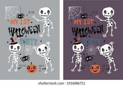 halloween themed skeletons t shirt print pattern design for girls and boys