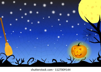Halloween themed vector background with luminous pumpkin lantern, abstract black shadows, moon, spider web and broom. Eps10.