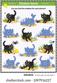 Halloween themed visual puzzle or picture riddle with black cat: Can you find the shadow for each picture. Answer included.