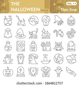 Halloween thin line icon set, thirty first october magic symbols collection or sketches. Halloween party decorations linear style signs for web and app. Vector graphics isolated on white background.