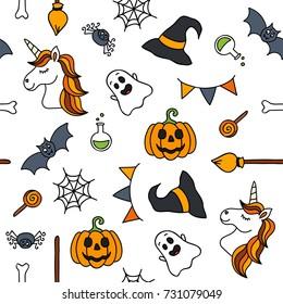Halloween things unicorn cute doodle seamless pattern