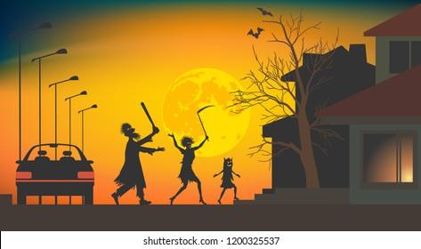 Halloween with the threat of pranks. Family in costumes treats door-to-door. Vector illustration EPS-8.