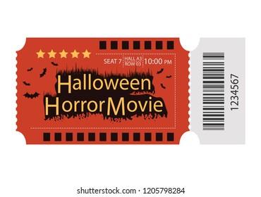 Halloween ticket design. Halloween horrible movie, Vector Illustration.