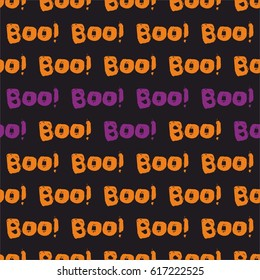Halloween tile vector pattern with orange and violet boo text on black background