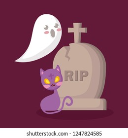 halloween tomb with ghost and cat