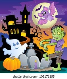 Halloween topic scene 1 - vector illustration.