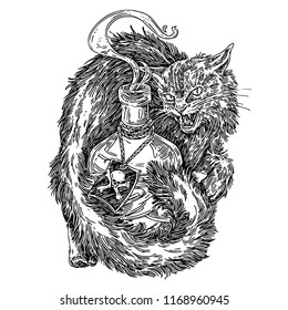 Halloween. Tousled black cat with a bottle of poison. Sketch. Engraving style. Vector illustration.
