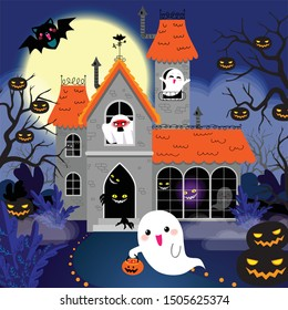Halloween town, cute haunted house under the moonligh